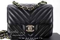 CHANEL 18B Black Chevron Square Mini Flap Light Gold Hw #26396669 *New