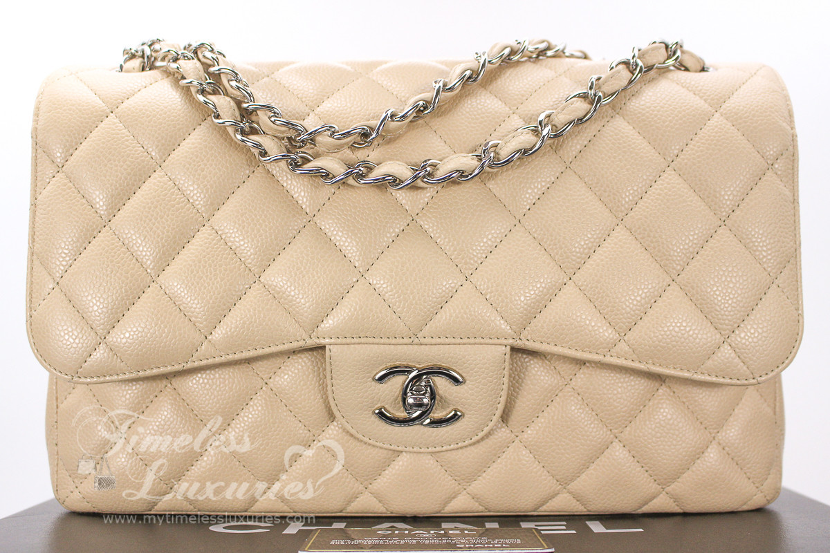 7284846598e5 CHANEL Beige Clair Caviar Jumbo Classic Double Flap Silver Hw #15194591 -  Timeless Luxuries
