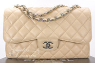 CHANEL Beige Clair Caviar Jumbo Classic Double Flap Silver Hw #15194591