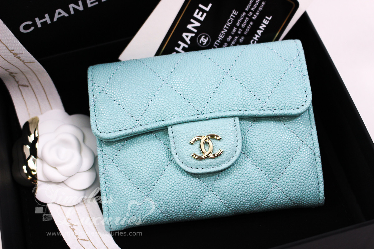 ea25e0f2a8df CHANEL 19C Light Blue Caviar XL Card Holder Back Pocket #27xxxxxx *New -  Timeless Luxuries