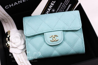 CHANEL 19C Light Blue Caviar XL Card Holder Back Pocket #27xxxxxx *New