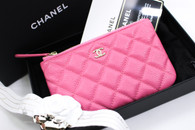 CHANEL 19C Bubblegum Pink Caviar Mini O-Case Pouch LGHW #269xxxxx *New