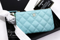 CHANEL 19C Light Blue Caviar Mini O-Case Zip Pouch #269xxxxx *New