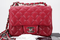 CHANEL 18B Raspberry Dark Pink Caviar Square Mini Silver Hw #26536507 *New