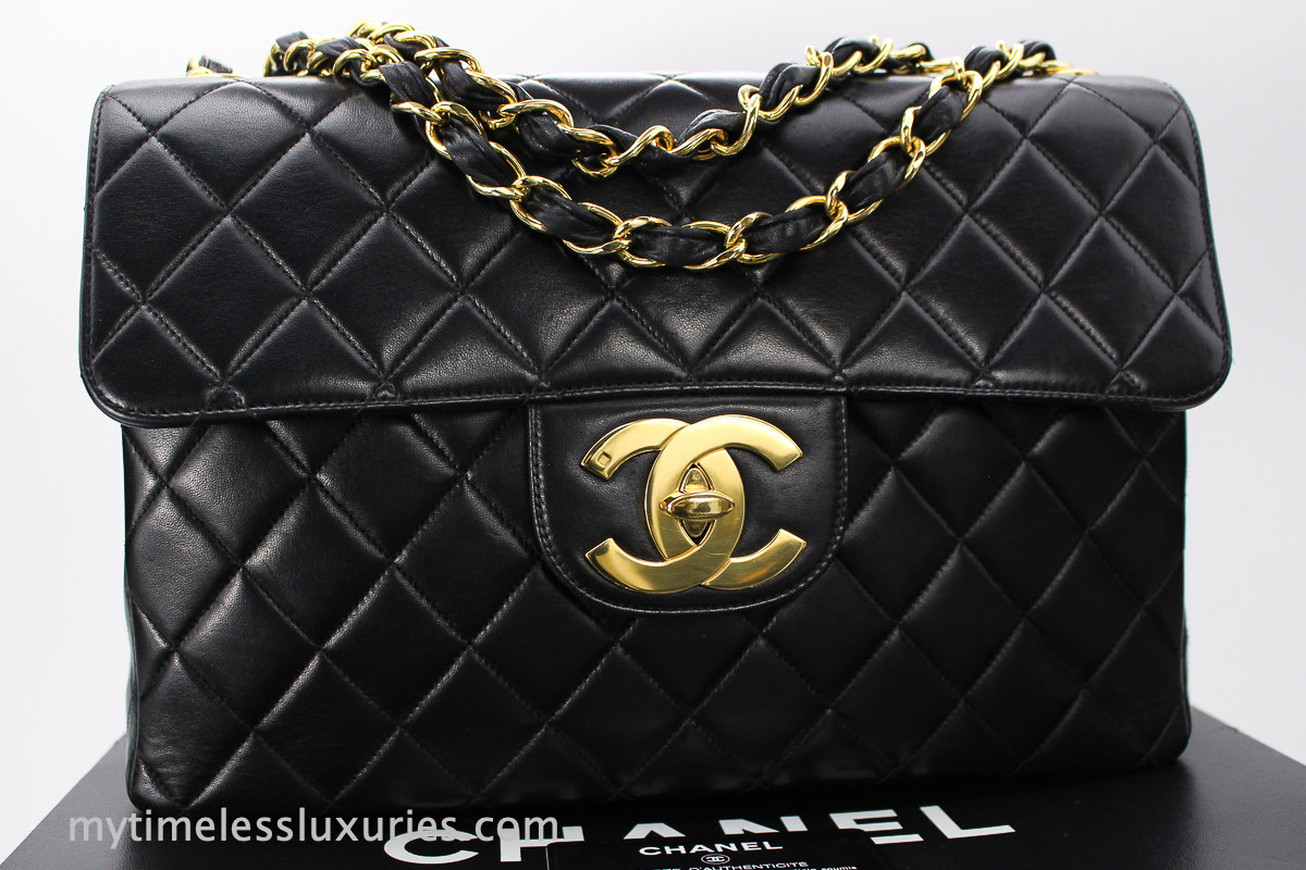 acbc28becde0 CHANEL Black Lambskin Vintage Jumbo Classic Flap Bag Gold Hw #3771700 -  Timeless Luxuries