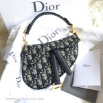 CHRISTIAN DIOR 2018 Mini Saddle Bag Navy Blue Oblique Gold Hw *New