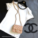 CHANEL 2018 18P Short Sleeve T-Shirt/ Top with Tweed Trim White 36 FR