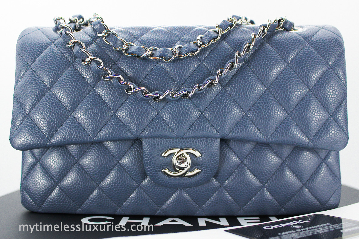 1bb408bc0ec3 CHANEL 14B Blue Grey Caviar Classic Double Flap Bag Silver Hw #20110038  *New - Timeless Luxuries