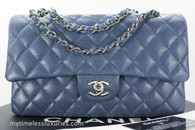 CHANEL 14B Blue Grey Caviar Classic Double Flap Bag Silver Hw #20110038 *New