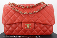 CHANEL 14C Pearly Orange Caviar Jumbo Double Flap #20486142 *New