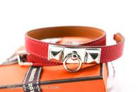 HERMES Rivale Double Tour Bracelet Rouge Casaque Epsom PHW XS *New