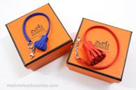 2x HERMES Carmencitas Bleu Electrique PM & Rouge Indien GM Charms *New