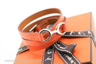 HERMES Dandy Pavane Wrap Bracelet Mangue Epsom Palladium HW XS *New