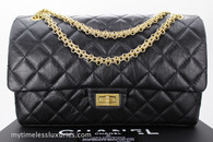 CHANEL Black Aged Calf 2.55 Reissue Flap Bag 226 Gold Hw #22426421