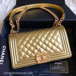CHANEL 14S Gold Metallic Patent Boy Flap Bag Gold Hw #19441832 *New