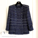 CHANEL 2016 16S Double Breasted Fantasy Tweed Jacket 36 FR Navy
