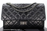 CHANEL Metallic Black Aged Calf 2.55 Reissue 227 Ruthenium Hw #11630026