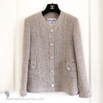 CHANEL 2016 16C Paris Seoul Beige Pearly Tweed Classic Jacket 38 FR