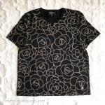 CHANEL 2018 18B Black/ Gold Camellia Cotton T-Shirt 38 FR *New