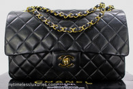 CHANEL Black Lambskin Classic Double Flap Bag Gold Hw #2017496