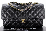 CHANEL Black Lambskin Classic Double Flap Bag Gold Hw #11587768