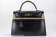 HERMES Kelly 32 Sellier Black Box Calfskin Gold Hardware w/ Strap
