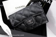 CHANEL Black Caviar Classic Flap Card Holder Silver Hw #22874860