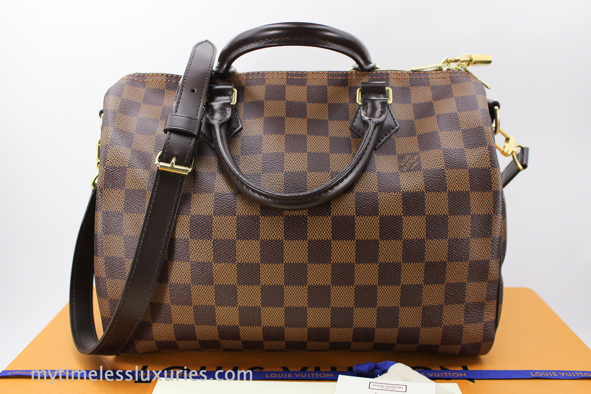f16a27cbf690 LOUIS VUITTON Speedy 30 Bandouliere Damier Ebene Canvas  MB4196 - Timeless  Luxuries