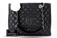 CHANEL Black Caviar Grand Shopping Tote GST Silver Hw #19601665