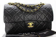 CHANEL Black Lambskin Classic Double Flap Gold Hw #5018718