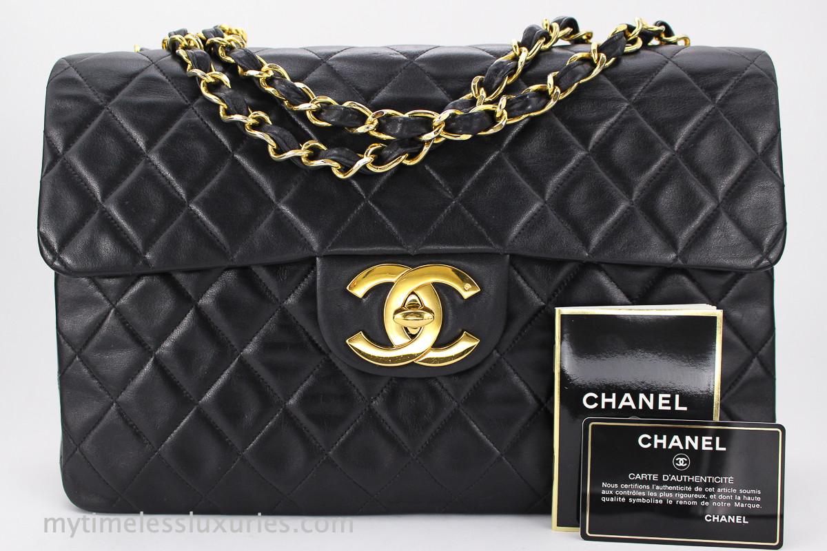 e129096ed44 CHANEL Black Vintage Jumbo XL/ Maxi Classic Flap Bag Gold Hw #2463074 -  Timeless Luxuries