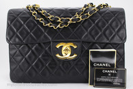 CHANEL Black Vintage Jumbo XL/ Maxi Classic Flap Bag Gold Hw #2463074