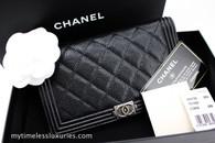 CHANEL Boy Slim Bifold Wallet Black Caviar Ruthenium Hw #19811841
