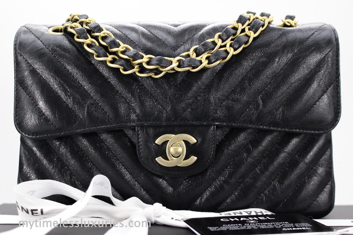 bc9ffefd8c04ad CHANEL 18B Black Iridescent Calf Chevron Small Classic Flap #26340723 *New  - Timeless Luxuries