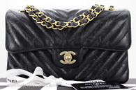 CHANEL 18B Black Iridescent Calf Chevron Small Classic Flap #26340723 *New
