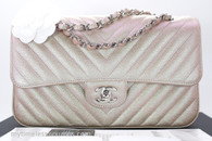 CHANEL 17B Lt Gold (Rose Gold) Chevron Caviar Classic Flap #24811606 *New