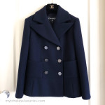 CHANEL 18A Metiers d'Art Paris Hamburg Navy Pea Coat Jacket 34 FR *New