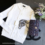 CHANEL 2018 18P Knit Cardigan with CC Buttons White 36 FR *New