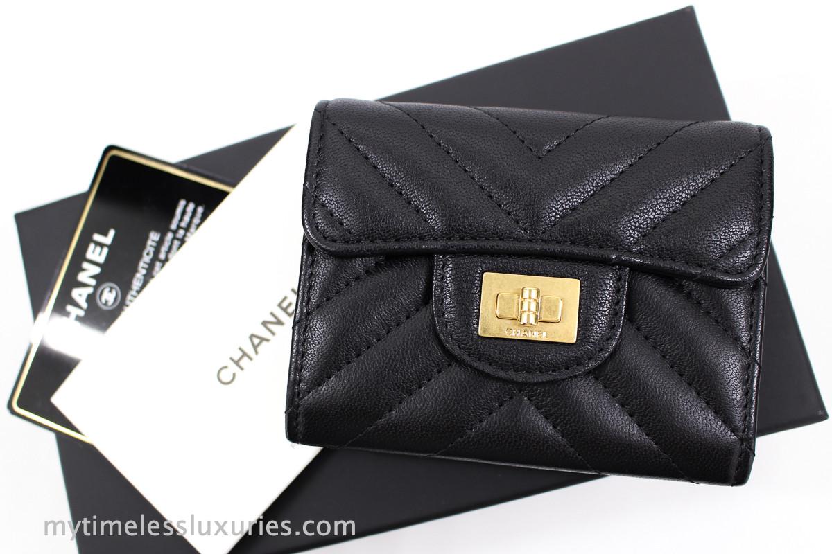 430ce1cff1fb CHANEL Black/ Pink Chevron 2.55 Reissue XL Card Holder Gold Hw #23995684 -  Timeless Luxuries