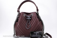 CHANEL Burgundy Deerskin Drawstring Bucket Bag Shiny RHW #23241886 *New