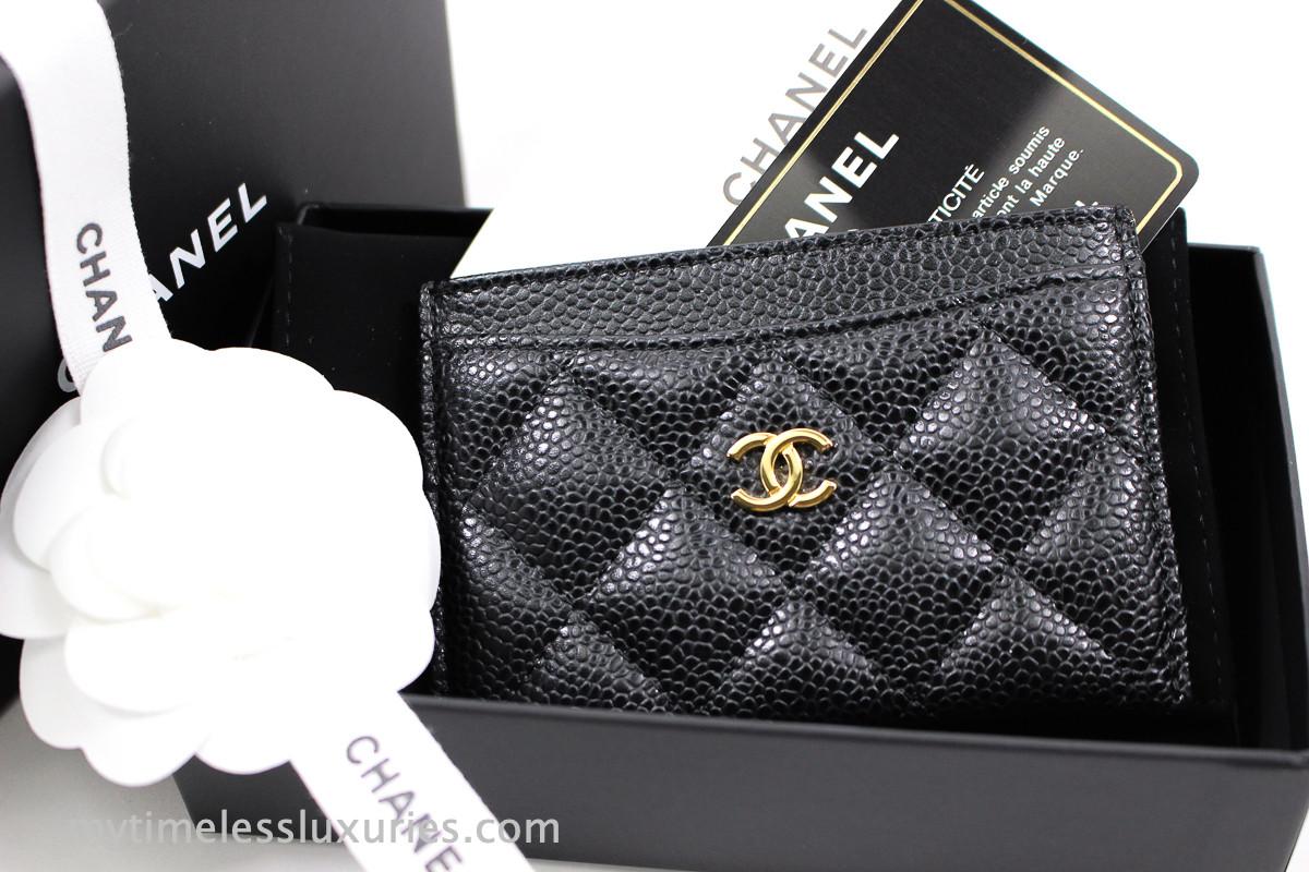 5c18594d CHANEL Black Caviar Classic Flat Card Holder Gold Hw #24419404