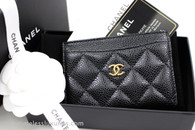 CHANEL Black Caviar Classic Flat Card Holder Gold Hw #24419404