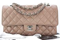 CHANEL 17B Dk Beige Caviar Classic Double Flap Bag Silver Hw #24747614