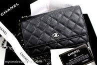 CHANEL Black Caviar Classic WOC Wallet on Chain Silver Hw #22192894