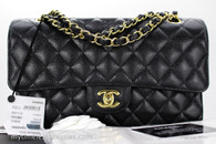 CHANEL Black Caviar Classic Double Flap Bag Gold Hw #25737079 *New
