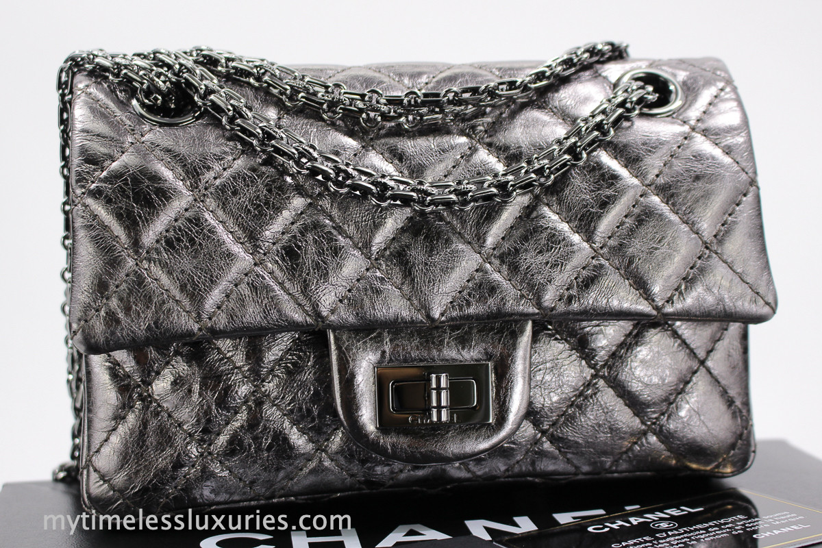 2892046a62bf CHANEL Dk Silver Metallic Aged Calf 2.55 Reissue 224 Mini Flap Bag  #11988629 - Timeless Luxuries