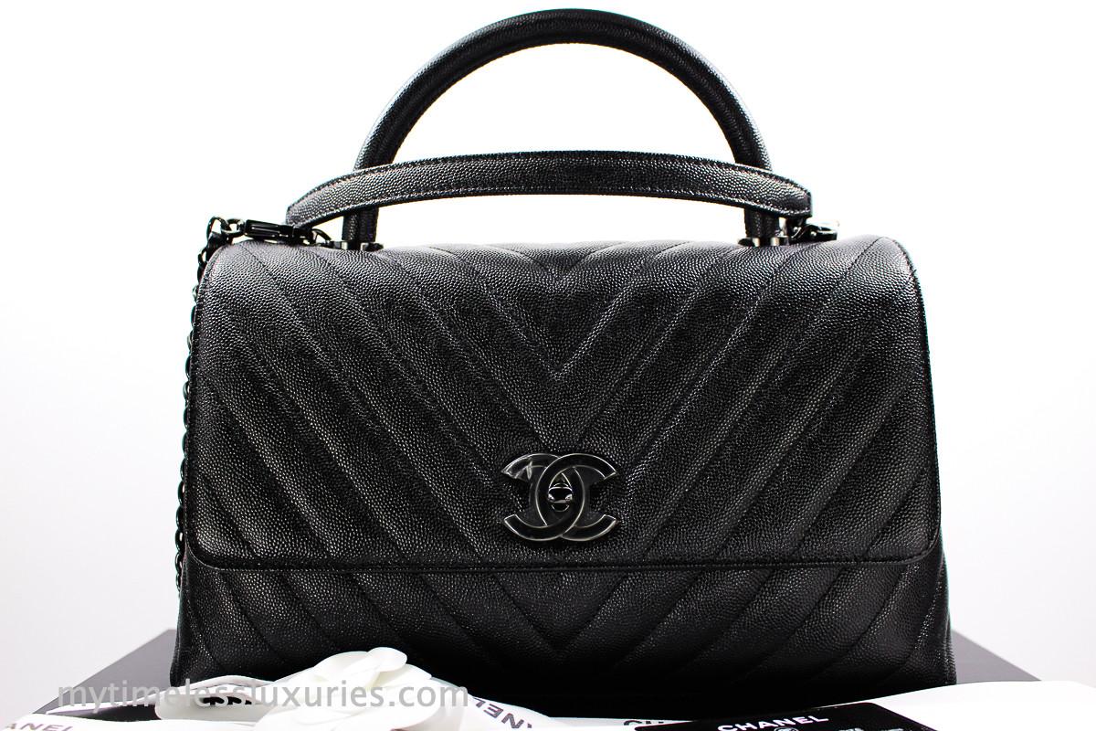 71c9429c837e CHANEL 18A 'So Black' Chevron Caviar Coco Handle Black Hw #262xxxxx *New - Timeless  Luxuries