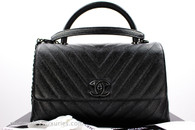 CHANEL 18A 'So Black' Chevron Caviar Coco Handle Black Hw #262xxxxx *New