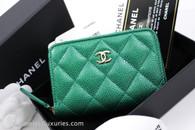 CHANEL 18S Emerald Green Caviar Zip Coin Purse/ Card Holder #25879115 *New