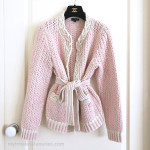 CHANEL 2018 18P Belted Cotton Knit Cardigan Pink/ Ecru 36 FR